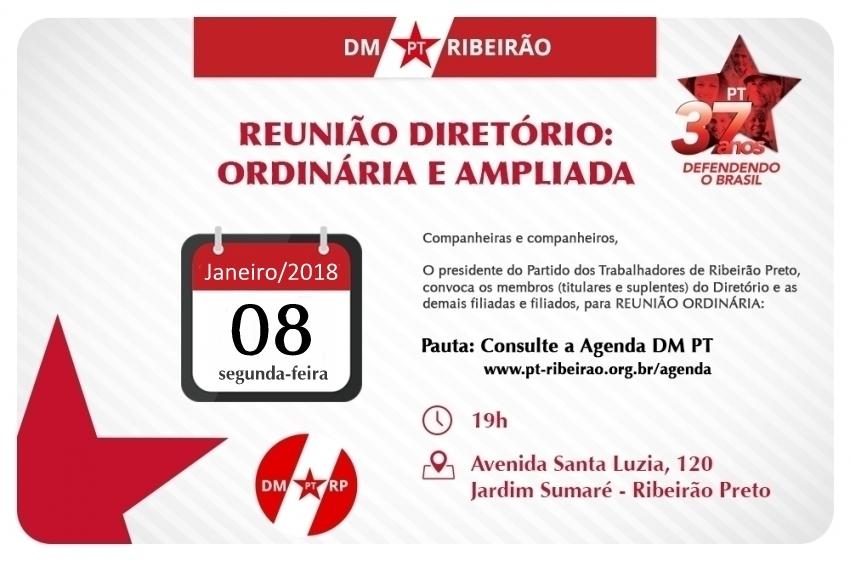 Reunião Ordinária | Diretório Municipal: 08.01.2018