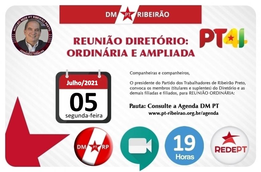 REUNIÃO ORDINÁRIA DO DIRETÓRIO MUNICIPAL   05/07/2021 - (segunda-feira)