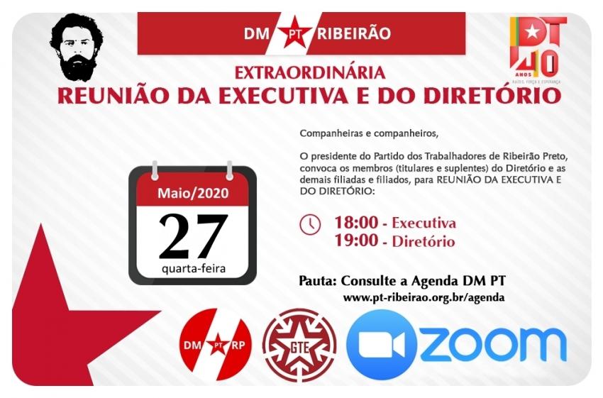 REUNIÃO ORDINÁRIA E AMPLIADA DA EXECUTIVA E DO DIRETÓRIO MUNICIPAL - 27-05-2020