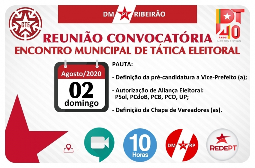 ENCONTRO MUNICIPAL DE TÁTICA ELEITORAL E DEFINIÇÃO DE CANDIDATURAS